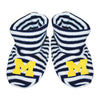 Creative Knitwear Navy Blue White Stripe U of M University of Michigan College Football Socks Baby Booties Tadpoles & Tiddlers Bath Akron Cleveland Ohio