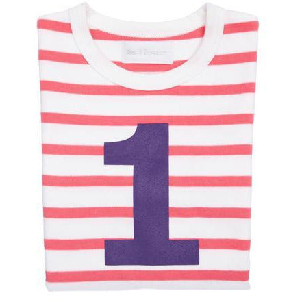 Number 1 Long Sleeve Tee-Coral Stripe