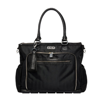 Black Herringbone Tribe Tote Diaper Bag
