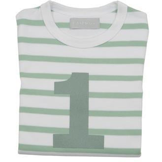 Number 1 Long Sleeve Tee-Seafoam Stripe