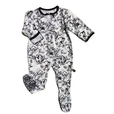Black Floral Footie Sleeper