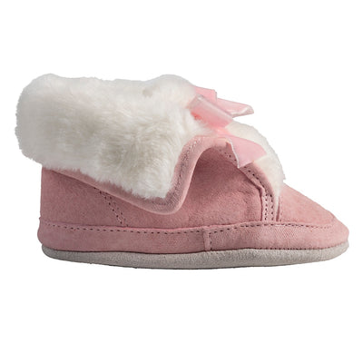 Pink suede robeez boot with faux fur lining and pink velvet bow
