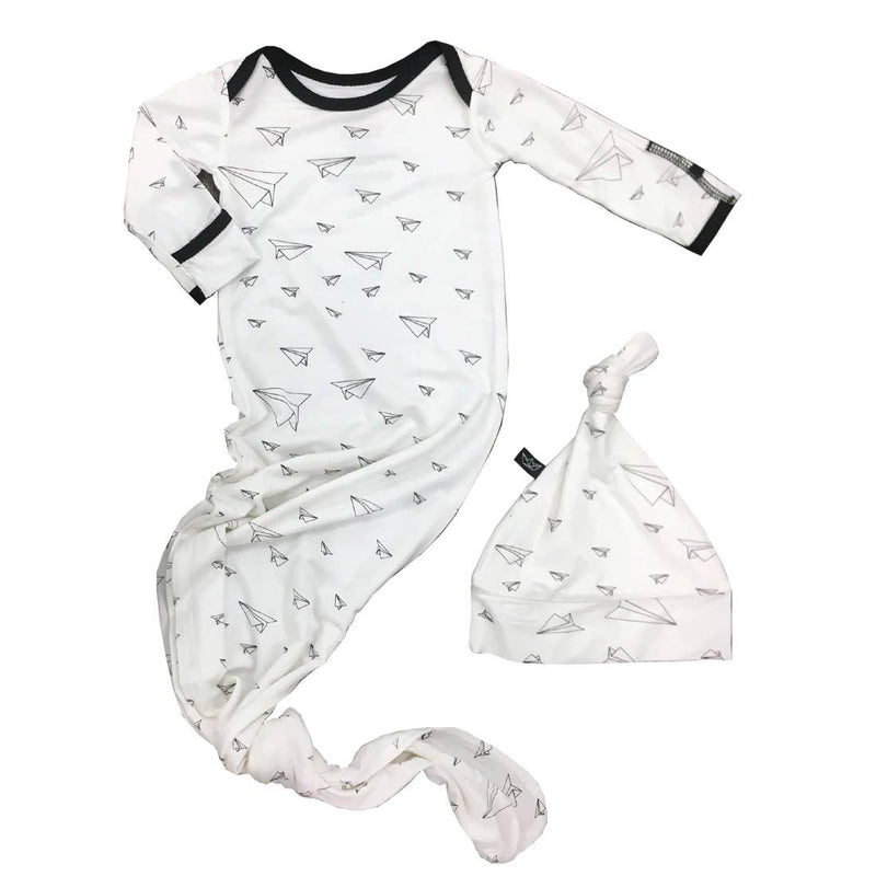 Paper Airplanes Knotted Newborn Gown + Hat