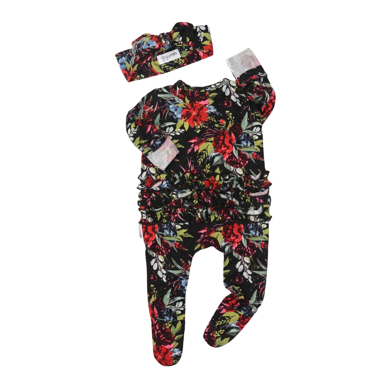 Red & Black Newborn Floral Ruffle Zip Footie & Headband