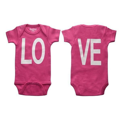 Sara kety girl onesie pink white love letters