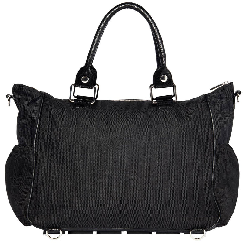 Triple Threat Convertible Bag-Black Herringbone