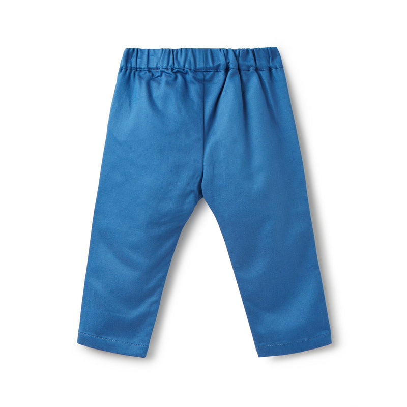 Blue Woven Ethan Twill Trousers