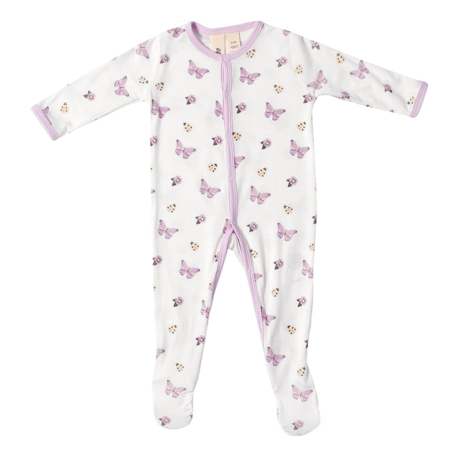 Kyte Baby Footie Flutter Butterfly Purple Lilac White Baby Girl Layette Tadpoles & Tiddlers Cleveland Bath Akron Ohio