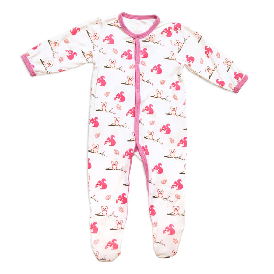 Kyte Baby Footie Park Pink Squirrel Owl Animal Print White Baby Girl Layette Tadpoles & Tiddlers Cleveland Bath Akron Ohio