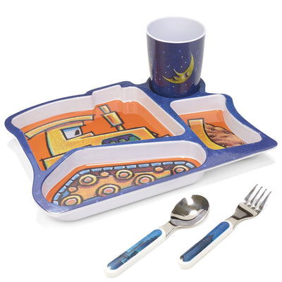 Goodnight, Goodnight, Construction Site Melamine Mealtime Plate Cup Fork Spoon Set Set Tadpoles & Tiddlers Akron Bath Cleveland Ohio