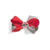 Wee Ones Red Grey OSU Ohio State University Football Team Ribbon Hair Bow Baby Girl Tadpoles & Tiddlers Cleveland Bath Akron Ohio