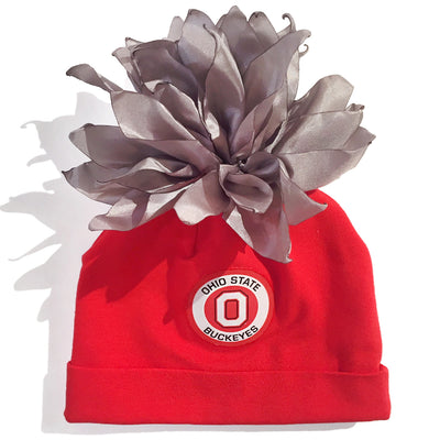 d1b01219fe1afa OSU Ohio State University Red Grey White Pom Pom Baby Hat Tadpoles &  Tiddlers Cleveland Bath