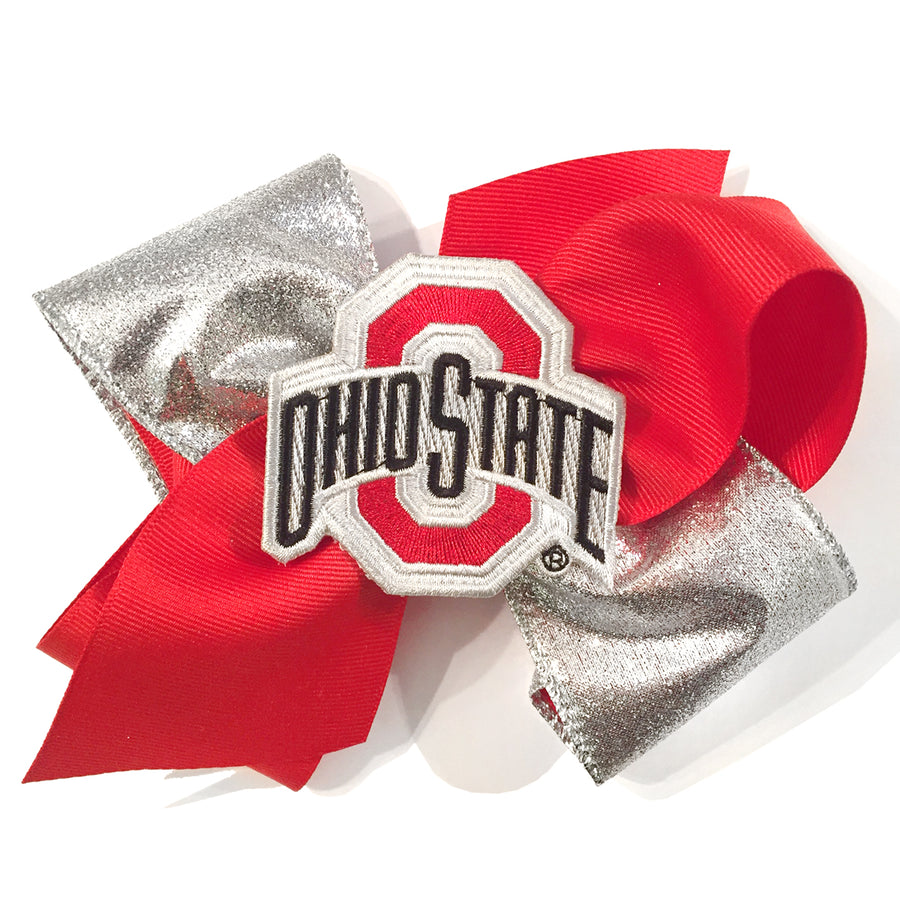 ef0c6b080cf OSU Ohio State University Buckeyes Red Silver Glitter Football Baby Girl  Tadpoles   Tiddlers Akron Bath