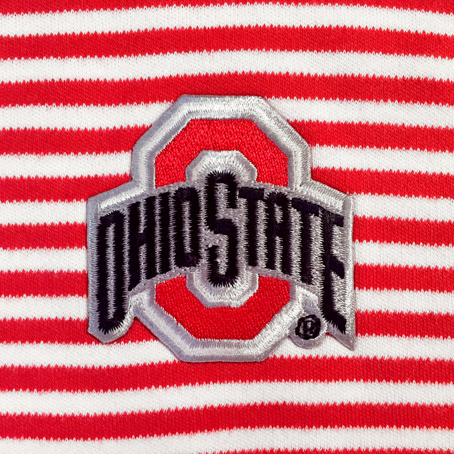 Red White Striped OSU Ohio State University College Baby Bib Tadpoles & Tiddlers Cleveland Akron Bath Ohio
