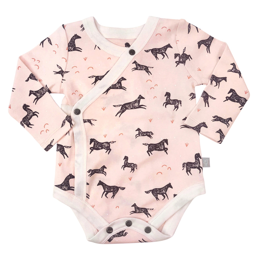 Finn + Emma Pink Peach Wild Horses Long Sleeve Onesie Harem Pant Outfit Baby Girl Tadpoles & Tiddlers Cleveland Bath Akron Ohio
