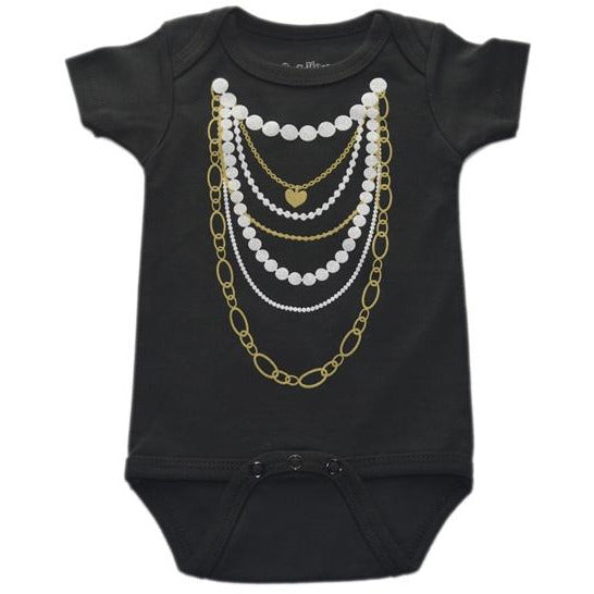Gold and Pearl Necklace Onesie