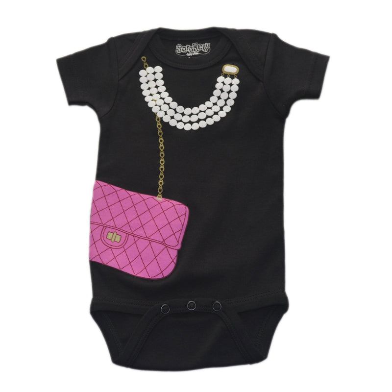 Baby Girls' Pearls & Purse Onesie