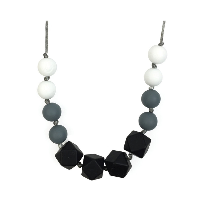 Teething Necklace-Black & White Onyx