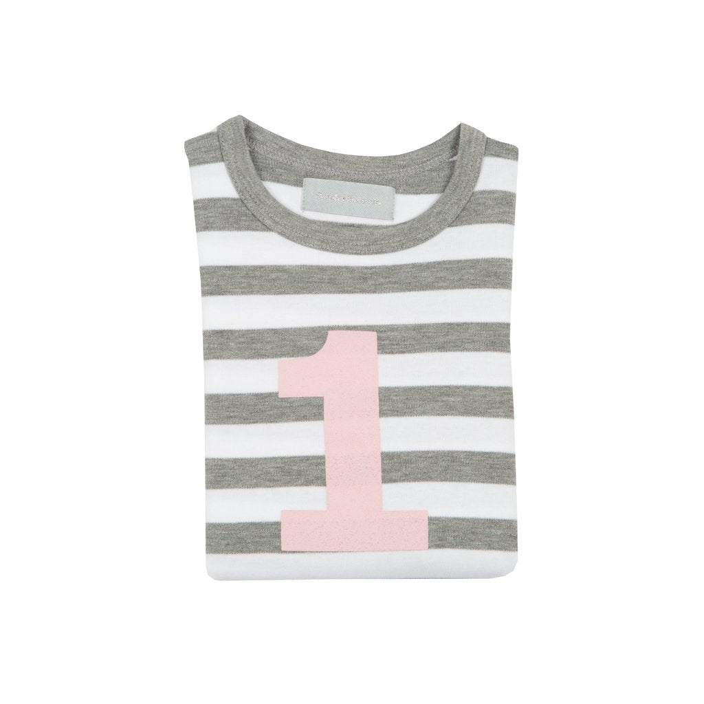 Number 1 Long Sleeve Tee-Grey Stripe