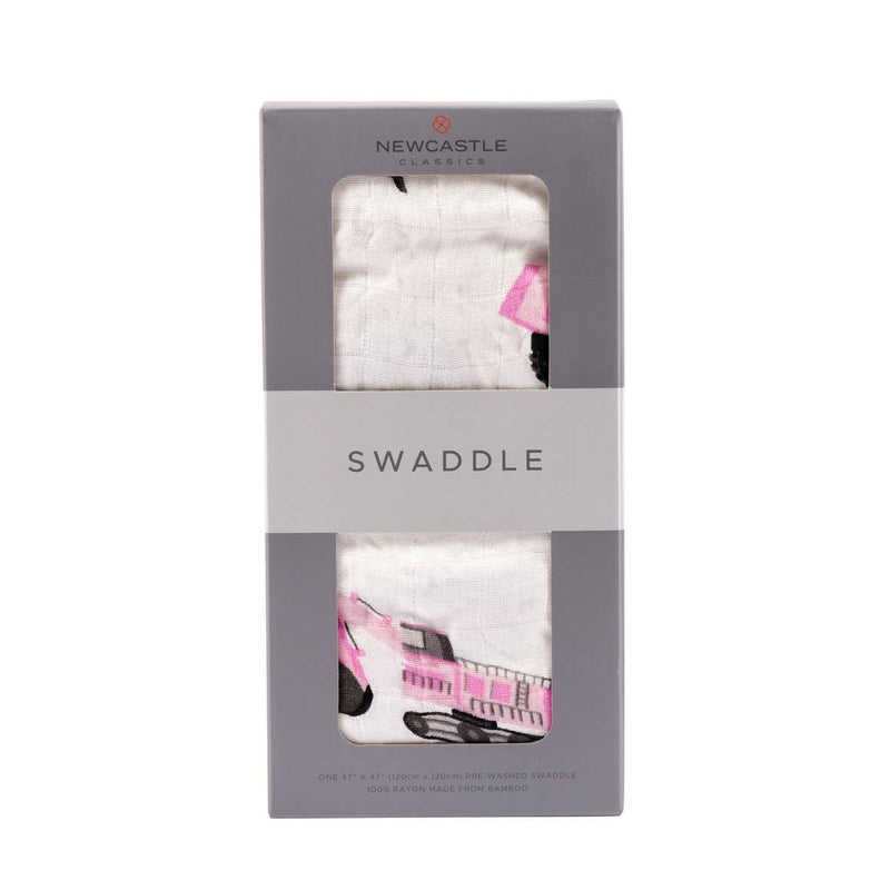 Pink Digger Muslin Swaddle