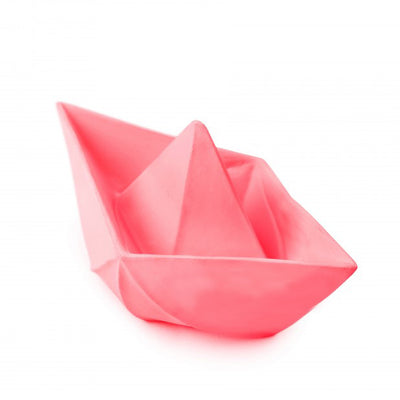 Oli & Carol Pink Origami Boat Natural Rubber Bath Toy Baby Tadpoles & Tiddlers Ohio
