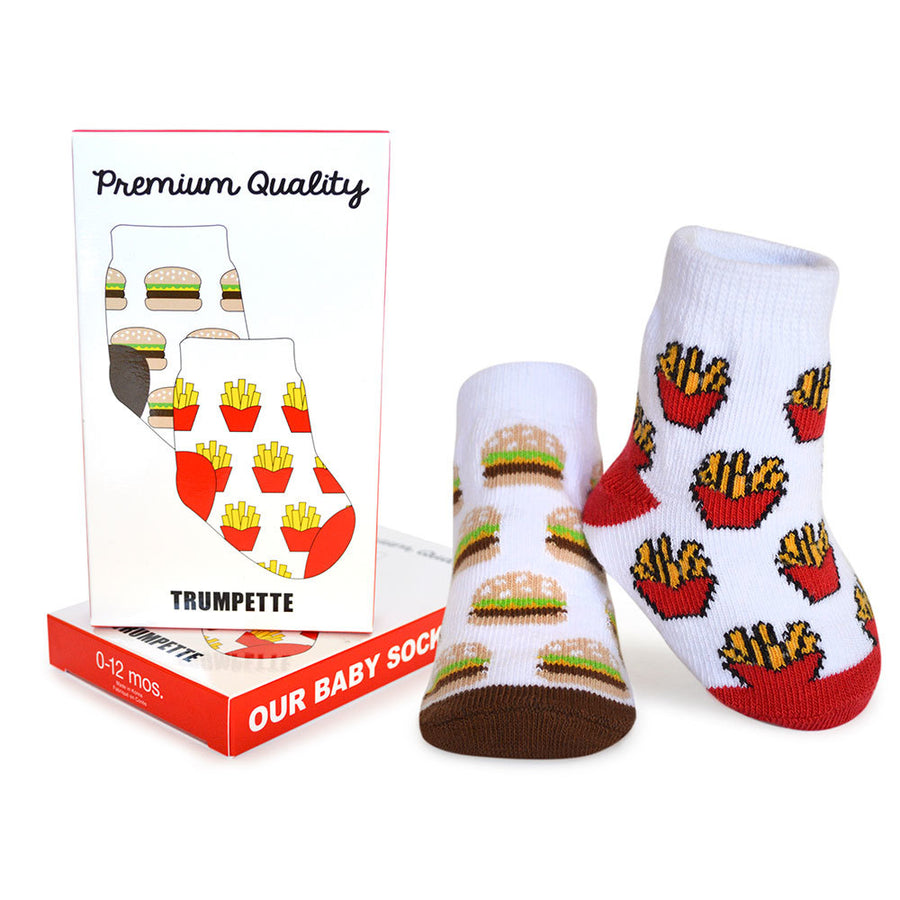 Trumpette Premium Quality Fast Food Burgers Fries Print Baby Socks Boy Infant Tadpoles & Tiddlers Cleveland Bath Akron Ohio