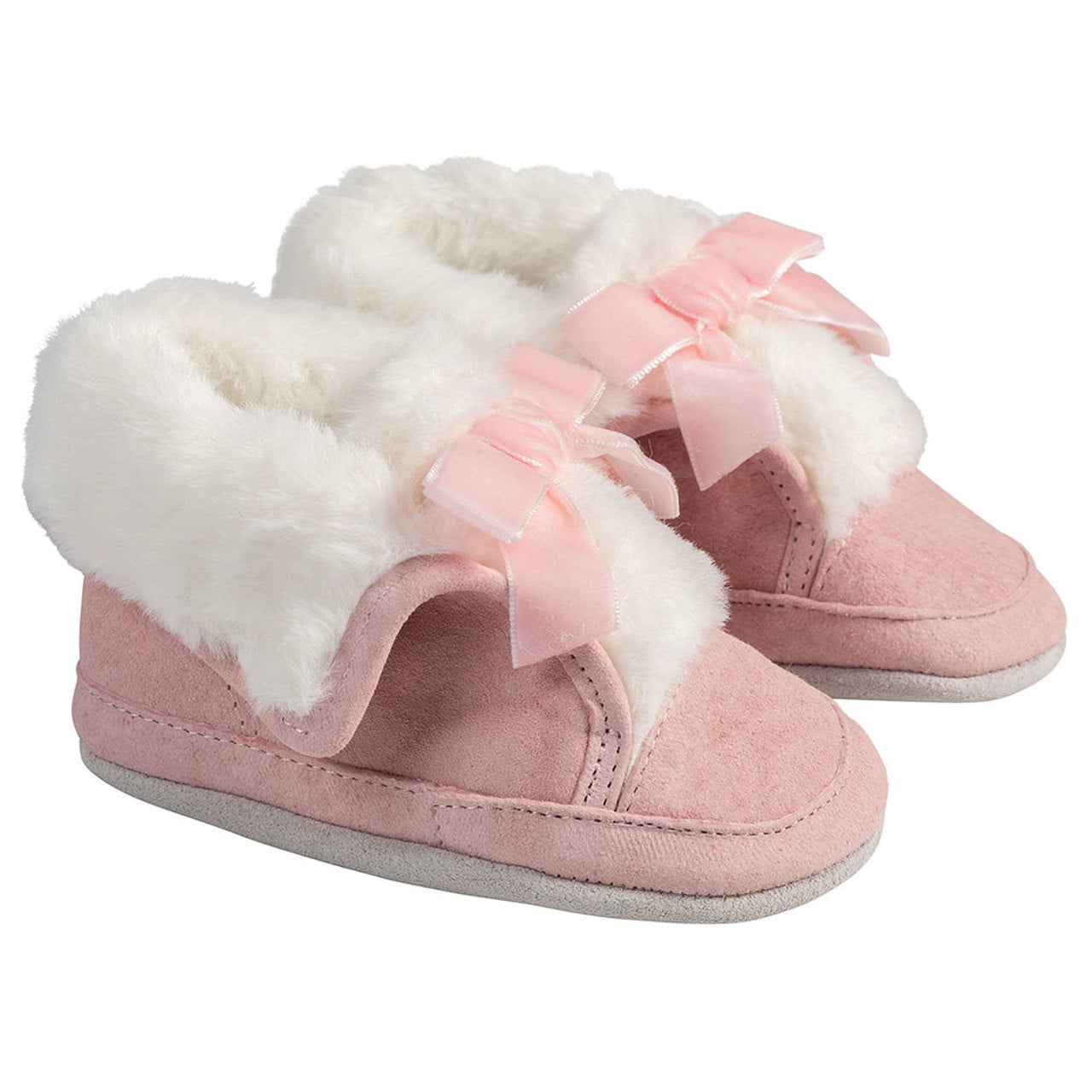 Pink suede robeez boot with faux fur lining and pink bow