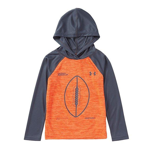 UA Football Hooded Tee-Orange Glitch