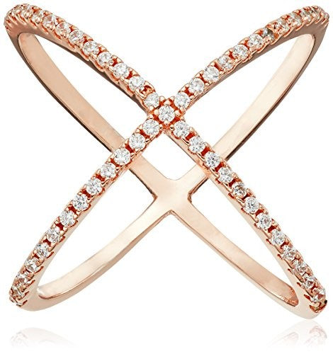 Peermont Jewelry 18K Rose Gold-Plated X CZ Ring
