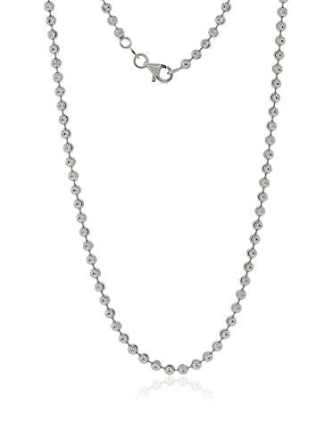 Peermont 925 Sterling Silver Mooncut Bead Chain Necklace
