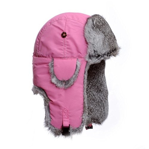 Mad Bomber Pink Nylon Pilot Bomber Hat Real Rabbit Fur Trapper Hunting Cap