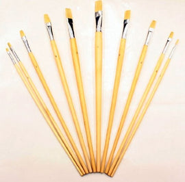 Zen Art Supply 10 Pc Artist Paint Brush Set All Purpose Oil Watercolor Acrylic