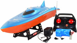 RC Balaenoptera Musculus Racing Speed Boat Radio Remote Control - Blue Orange