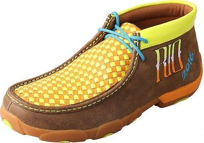 Twisted X Mens MDM0043 Leather Neon Yellow Orange RIO Driving Moccasin Size 8.5
