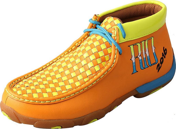 Twisted X Womens WDM0044 Orange Yellow Blue RIO Driving Moccasin Size 7 US