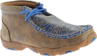 Twisted X Childrens YDM0009 Cowkids Leather Moccasin Brown Blue Size 13.5 US