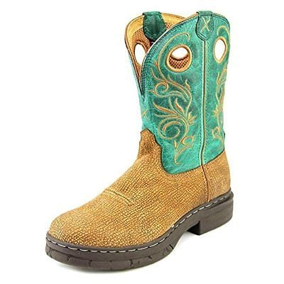 Twisted X Women's WEZ0006 EZ Rider Leather Cowboy Boots Brown Green Size 7 US
