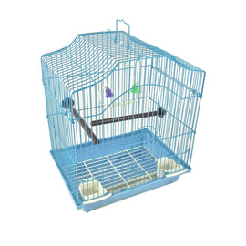 Blue 14-inch Small Parakeet Wire Bird Cage for Budgie Parakeets Finches Canaries Lovebirds Small Quaker Parrots Cockatiels Green Cheek Conure perfect Bird Travel Cage and Hanging Bird House