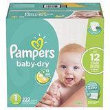 New Pampers Baby Dry Diapers - Size 1 (222ct) - Free Shipping