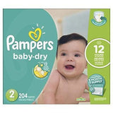 Pampers Baby Dry Diapers - Size 2 (204ct)