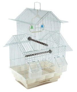 Bird Cage House Style - WHITE - Starter Kit, Swing Perch Feeders - Two Story