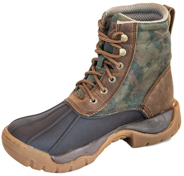 Womens Twisted X Waterproof Rubber Laceup Boot Camo Color: Green/Brown, Size: 7