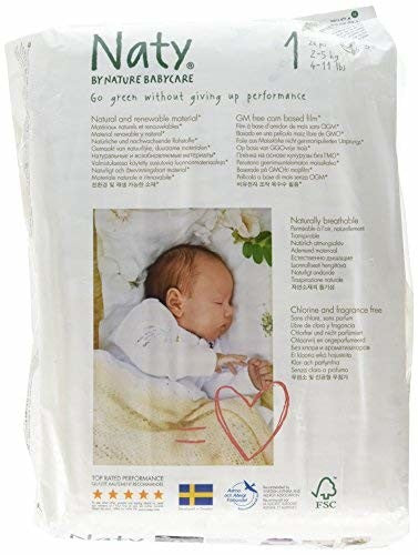 Naty Chlorine-free ECO Green Baby Diapers - Fragrance Free - Natural Baby Diapers Size 1 - 4-11 Lbs. - 2-5 Kg. - 26 Count