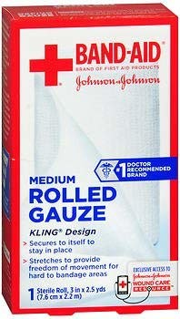 Band-Aid Rolled Gauze, Medium, 3