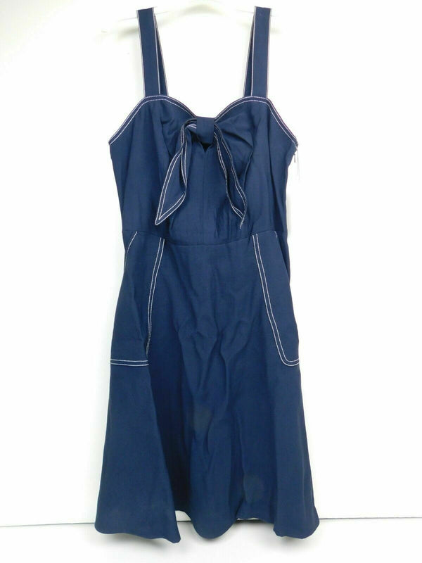 New!  Free Shipping Womens Sleeveless Tie Front Dress - A New Day Navy Large