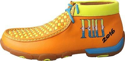 Twisted X Childrens YDM0025 Cowkids Leather Moccasin Yellow Orange RIO Size 6 US