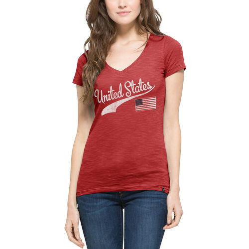 Women's '47 Red USA Country Scrum T-Shirt