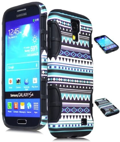 Bastex Hybrid Case For AT&T Samsung Galaxy S4 i9500 - Black Silicone / Aztec Tribal Hard