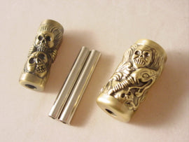CARVED TATTOO HANDLE SET - SKULL SNAKES WILD VOODOO - GRIPS with TUBES NEW!
