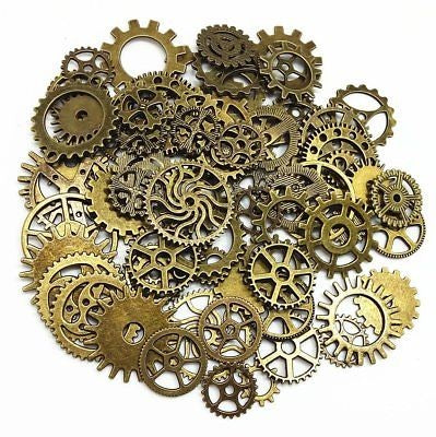 40pcs Mix Style Antique bronze Alloy Round Clock Wheel Gear Pendant Charms 39356